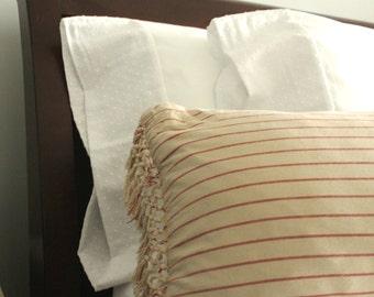 Organic White Cotton Pillowcases - Swiss Dot
