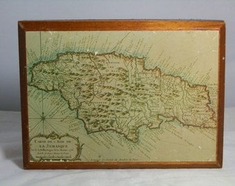 Vintage Jamaica Annabella Box Wood Map of Jamaica 1758 Made in 1987 Trinket Box GallivantsVintage