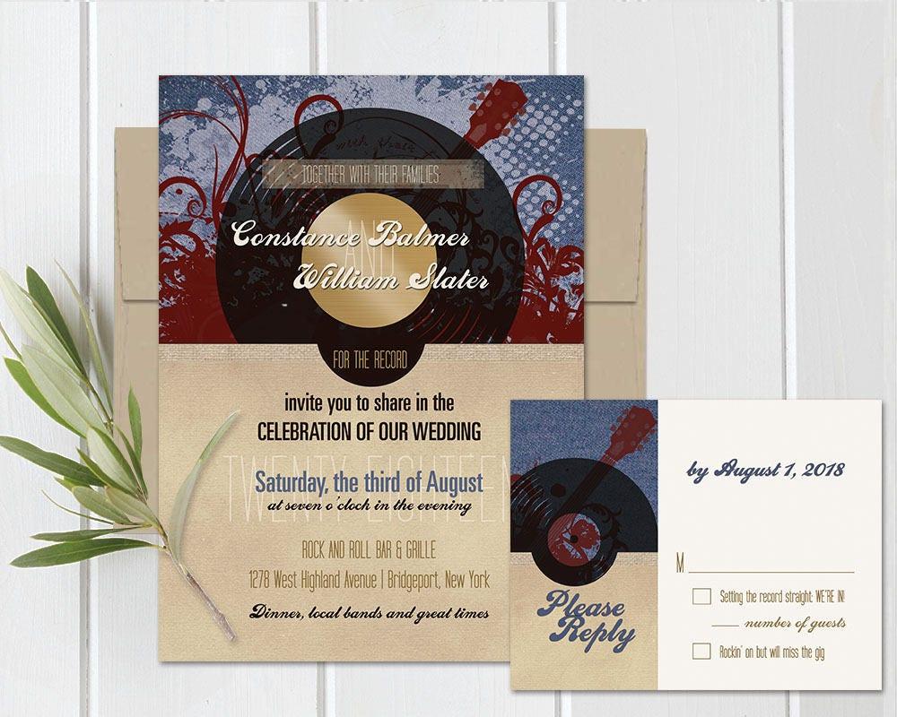 Record Wedding Invitations: Vintage Rock And Roll Wedding Invitation Set Printable Record