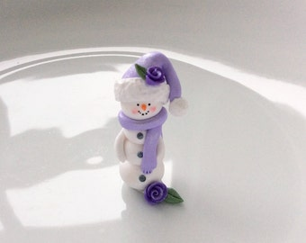 Miniature Christmas snowman with lilac roses hand made from polymer clay