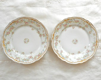 2 Antique Porcelain Dinner Plates Schleiger 340 Theodore Haviland Pink Roses Gold Trim