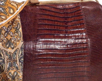 Ladies Top Handle, Brown, Genuine Lizard, Alligator, Reptile, Handbag, Clutch, Evening Bag, Satchel, Purse, circa 1940/50s