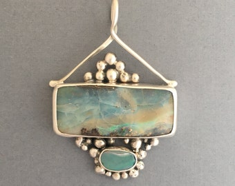 Australian Boulder opals embellished with Sterling silver balls