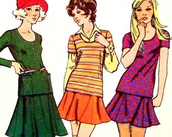1970s Bust 32 1/2 UNCUT Misses Dress two piece Mini Skirt knit Simplicity 5074 c 1972 70s
