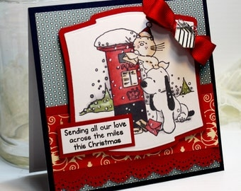 "Handmade Christmas Card Greeting Card 3D 5.25 x 5.25"" Sending All Our Love Pets Dog Cat Holiday Season Stationery Paper OOAK"
