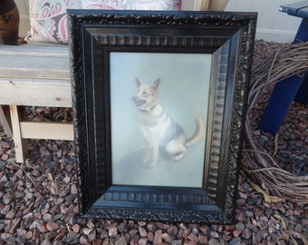 Vintage German Shepherd Dog Picture in Black Frame