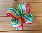 STORE CLOSING, Caribbean Stripe boutique hair bow