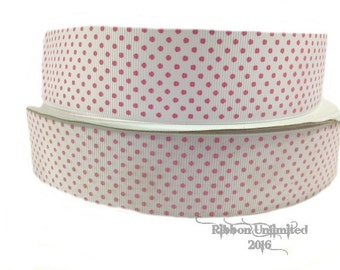 10 Yds. ***SaLE!!!! WHOLESALE 1.5 Inch WHiTE WiTH HoT PiNK SWiSS DoT grosgrain ribbon LOW SHIPPING Cost