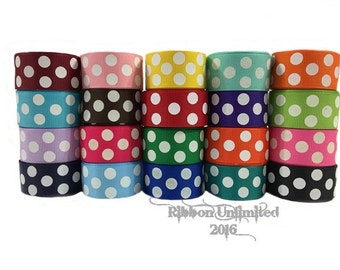 20 yds WHOLESALE 7/8 Inch JUMBo POLKa DoT grosgrain ribbon LoW SHIPPING COST