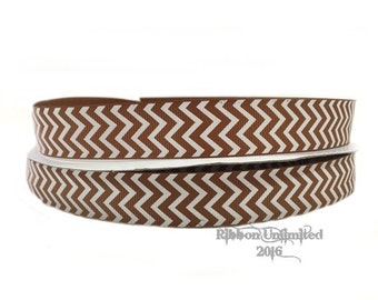 10 Yds. WHOLESALE 7/8 Inch Light Golden Brown & White Chevron grosgrain ribbon LOW SHIPPING Cost