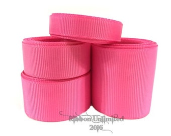 10 Yards WHOLESALE Solid Hot Pink grosgrain ribbon LOW SHIPPING Cost