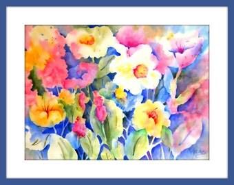 Watercolor Garden Flowers, White Flowers, Yellow Flowers, Garden Art, Gold Pink, Martha Kisling