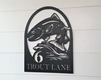Trout Fishing Address Sign LMW-16-82