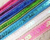 Sparkle Edge 1/2 Inch Sequined Trim  in Pink, White AB, Turquoise, Royal Blue, Purple, Lime Green, and Fuchsia Hot Pink