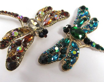 Peacock Blue Green or Topaz AB Extra Large 4 inch Dragonfly Brooches