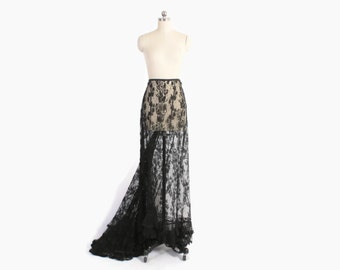 Vintage Victorian Skirt / 1900s Black Silk Sheer Lace Bustle Back Long Skirt with Train XS