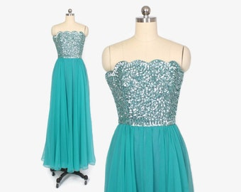 Vintage 60s Evening Gown / Vintage 1960s - 70s Strapless Sequin & Chiffon Mermaid Party Dress XS