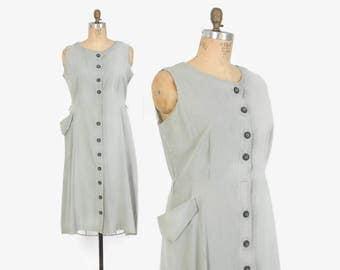Vintage 40s Day DRESS / 1940s Gray & White Seersucker Stripe Textured Cotton Sleeveless Plus Size Sun Dress XL