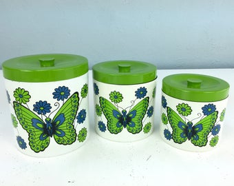 Vintage Kitchen Canister Set with Butterfly Fronts, 1960s Kitchen, Kitchen Canisters, Plastic Canisters, Green Kitchen