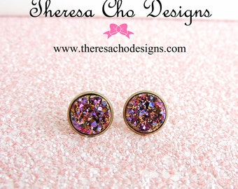 Metallic Magenta and Gold Faux Druzy Studs, Faux Druzy Studs, Large Faux Druzy Studs in Antique Brass Setting, 12mm Faux Druzy Stud Earrings