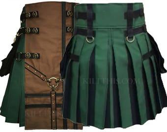 Interchangeable Hunter Green Kilt Brown Y Design Front Panel Antique Brass Valve Steampunk Conchos Black Flash Pleats Custom Fit Adjustable