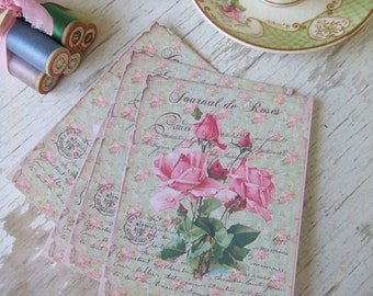 Pink rose notecards - vintage style notecards - shabby chic notecards - scrapbooking papers - blank cards - pretty papers - Australia