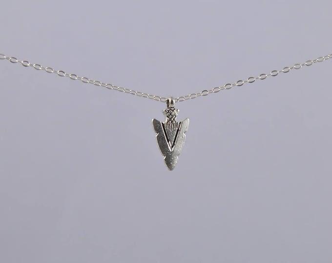 Arrowhead Charm Necklace, Arrow Necklace, Bohemian Necklace, Native American Arrowhead, Silver Arrow Necklace, Silver Arrowhead Necklace