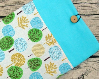 """RM 11"""" 12"""" 13"""" Macbook Pro sleeve, Macbook Air cover, iPad Pro, Laptop, Surface sleeve with 2 pockets PADDED - Trees"""