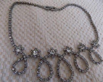 Vintage necklace,Kramer necklace, signed necklace, crystal choker necklace, bridal jewelry,wedding necklace, vintage jewelry