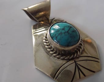 Vintage signed Navajo sterling silver and turquoise tribal pendant,southwestern jewelry