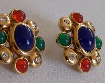 Vintage earrings,  runway earrings, retro earrings, multi-color earrings, glass earrings, stud earrings