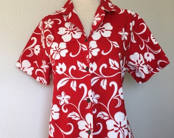 Vintage red floral Hawaiian aloha shirt, 1980s Shannon Marie, made in Hawaii top, red hibiscus blouse, rockabilly pinup women L XL oversized