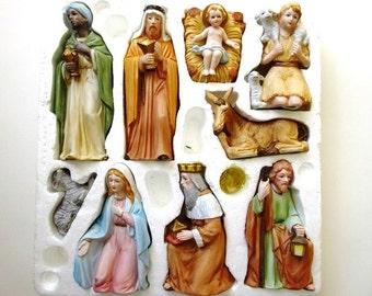 Porcelain Nativity Set, Vintage 9 Piece Home Interiors 5599