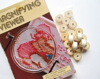 19 Bobbins Off White Quilting, Beading Thread & Hands Free Neck Magnifying Glass Viewer Magnifier, Needle Work Clearance Lot