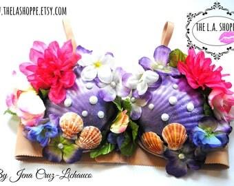 Size 34B only! Mermaid Glitter Floral Seashell Bra