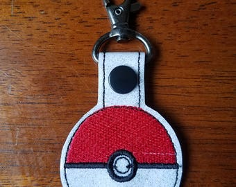 Sparkle Vinyl Pokemon Pokeball Poke Ball Backpack Charm Key Fob with Snap Tab