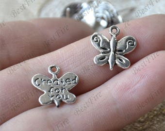 24 pcs Charms butterfly Pendant Antique silver Tone, butterfly Pendant Charms Fingdings pendant,jewelry pendant finding