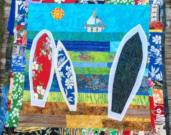 "Surfboard in the Sand Batik crib quilt, 42"" x 42"""