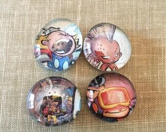 Little X-Men Comic Magnet Set, Superhero Magnets, Glass Bubble Magnets