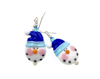 Christmas Earrings, Snowman Lampwork Earrings, Glass Bead Earrings, White Dangle Earrings, Lampwork Jewelry, Blue Snow Hat Beaded Earrings