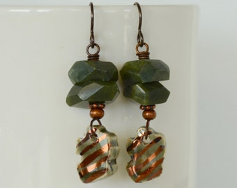 Green Stone Earrings, Art Bead Earrings, Shiny Copper Earrings, Eye Catching Earrings, Green Earrings, Copper Earrings, Artisan Jewelry