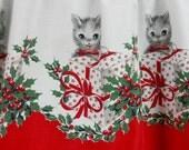 Vintage 1950s KITTENS CHRISTMAS Half APRON Cats Kittens Pussycats Gifts Handmade