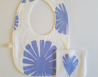 Lavender baby bib and wash cloth set