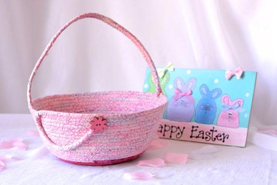 Girl Easter Basket, Handmade Pink Batik Basket, Gorgeous Fiber Pottery Basket, Flower Girl Basket, Easter Bucket, Artisan Quilted