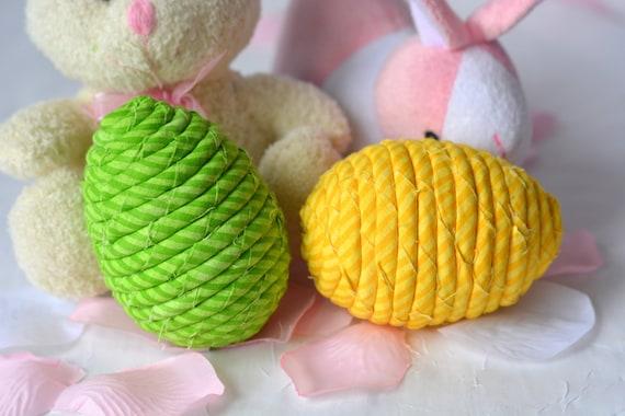 Easter Egg Ornaments, 2 Handmade Easter Egg Decoration, Bowl Filler, Easter Basket Filler, 2 Hand Coiled Fiber Easter Eggs
