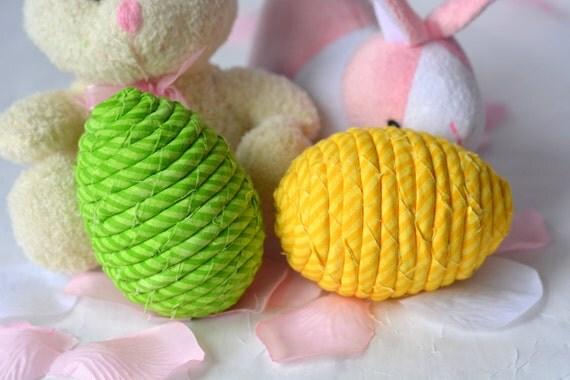 Sale... Easter Egg Ornaments, 2 Handmade Easter Egg Decoration, Bowl Filler, Easter Basket Filler, 2 Hand Coiled Fiber Easter Eggs