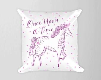 Unicorn Pillow, Once Upon A Time Pillow, Fairy Tale Nursery Pillow, Toddler Girl Pillow Pink Purple Unicorn, Princess Room Decor Pillow Pink
