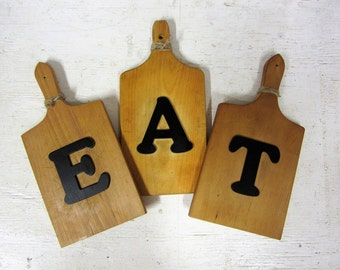 Rustic Wood Cutting Board EAT Kitchen Sign Farmhouse Decor
