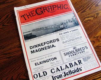 Antique Newspaper 1915 The Graphic London England World War I Complete With Advertisements, Photographs And Articles