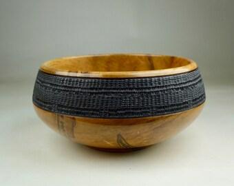 Embellished Wooden Ambrosia Maple Bowl -Pyrography - Figured by Nature - Handmade - Wood Bowl